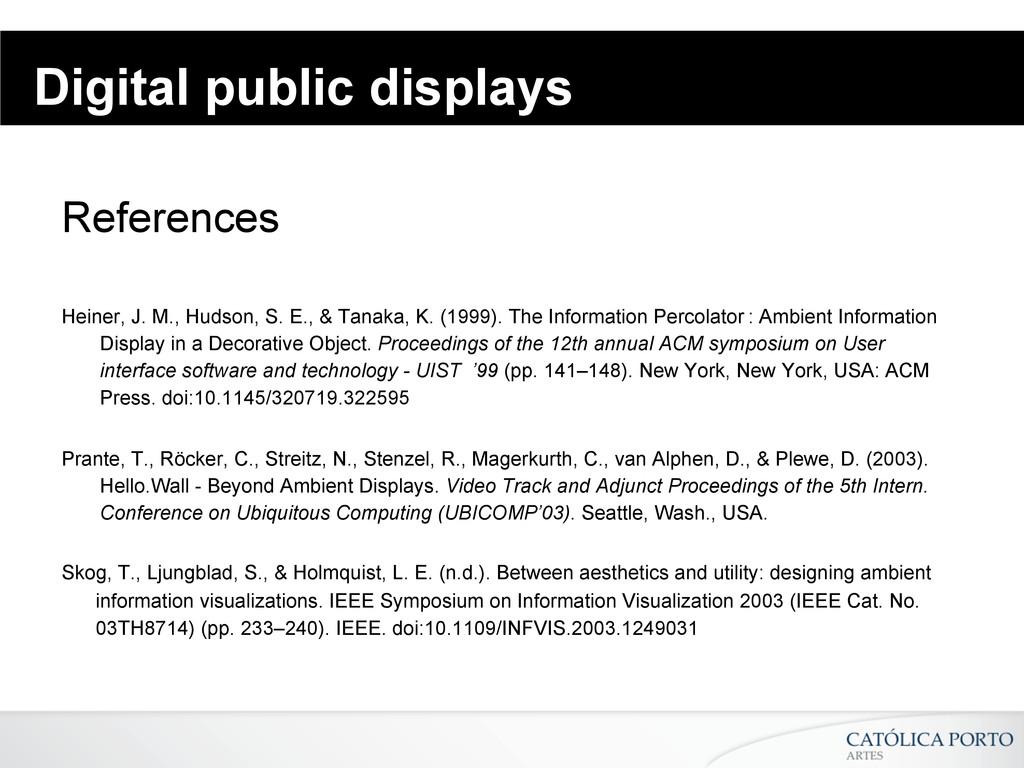 Digital public displays References Heiner, J. M...