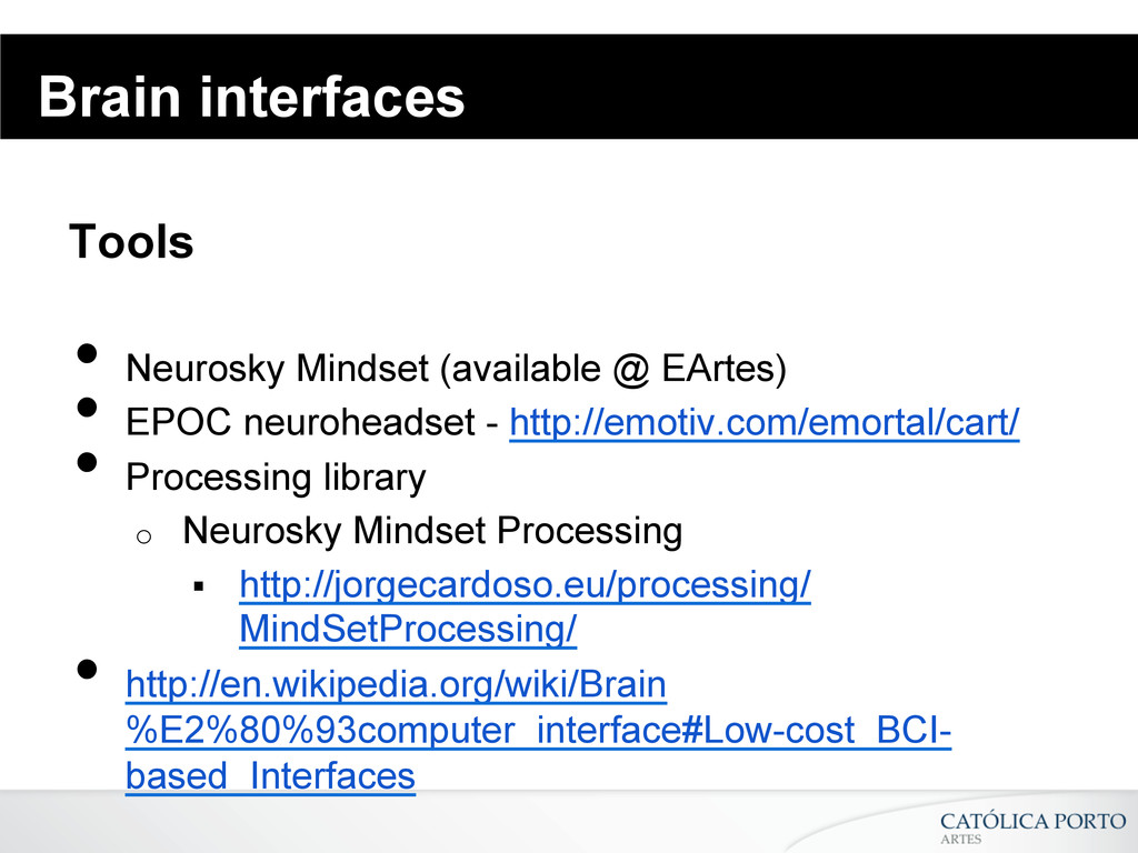 Brain interfaces Tools • Neurosky Mindset (ava...