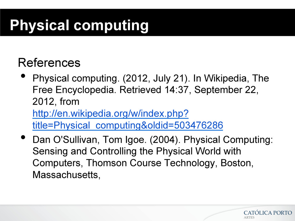 Physical computing References • Physical compu...