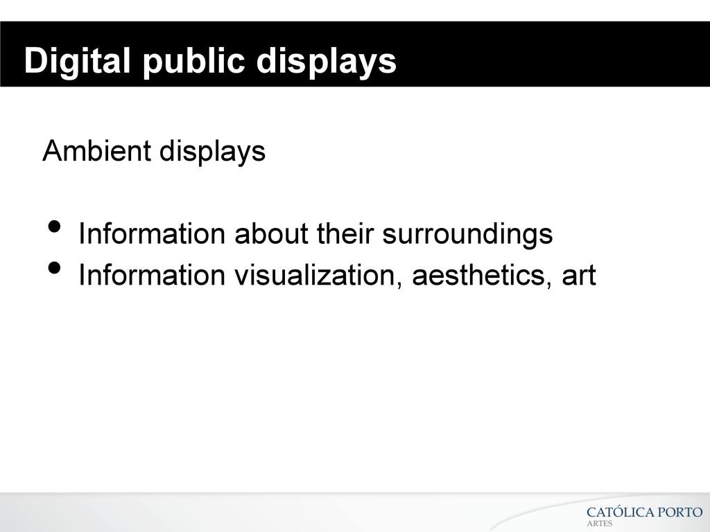 Digital public displays Ambient displays • Inf...
