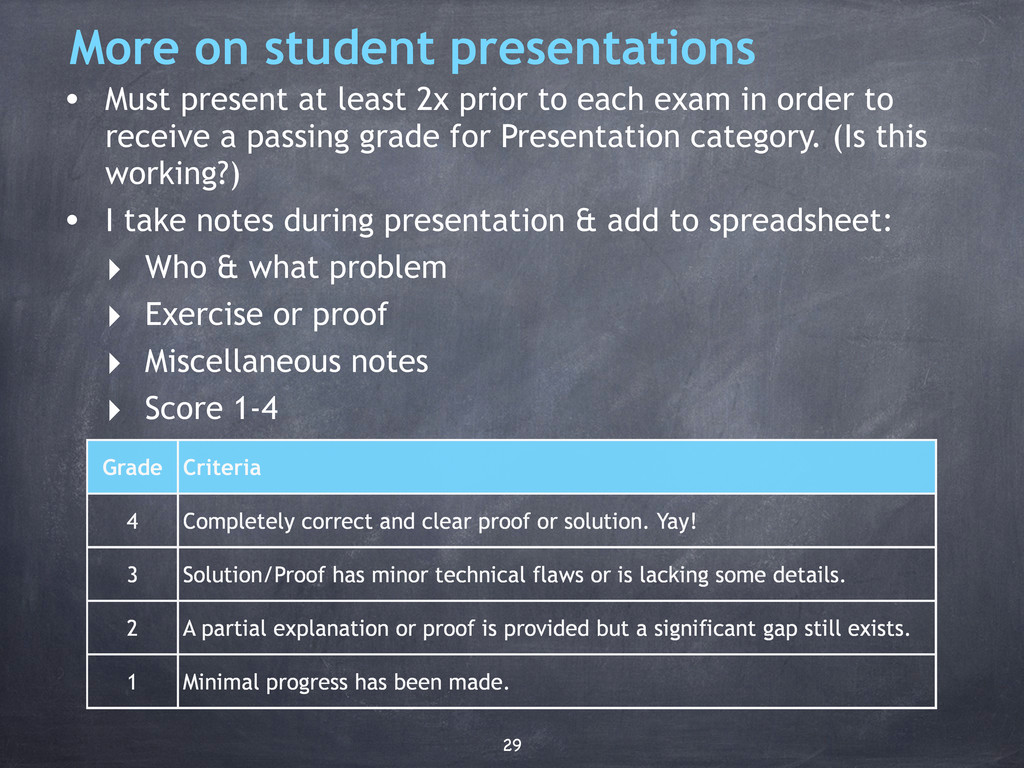 More on student presentations • Must present at...
