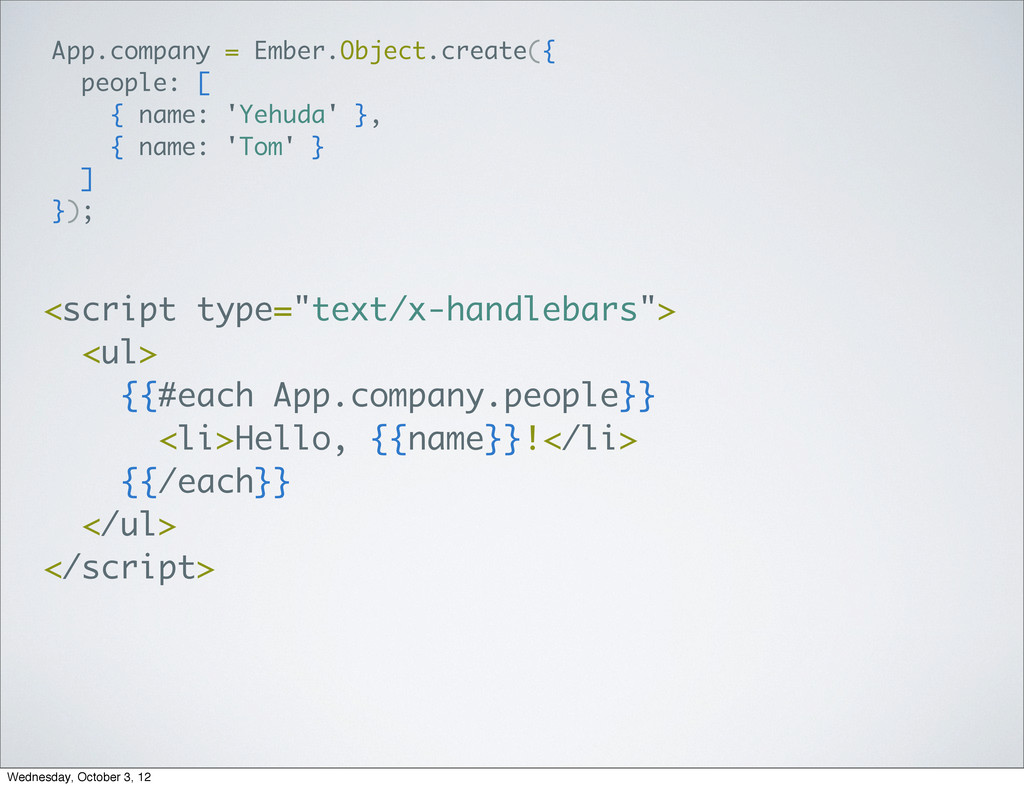 App.company = Ember.Object.create({ people: [ {...
