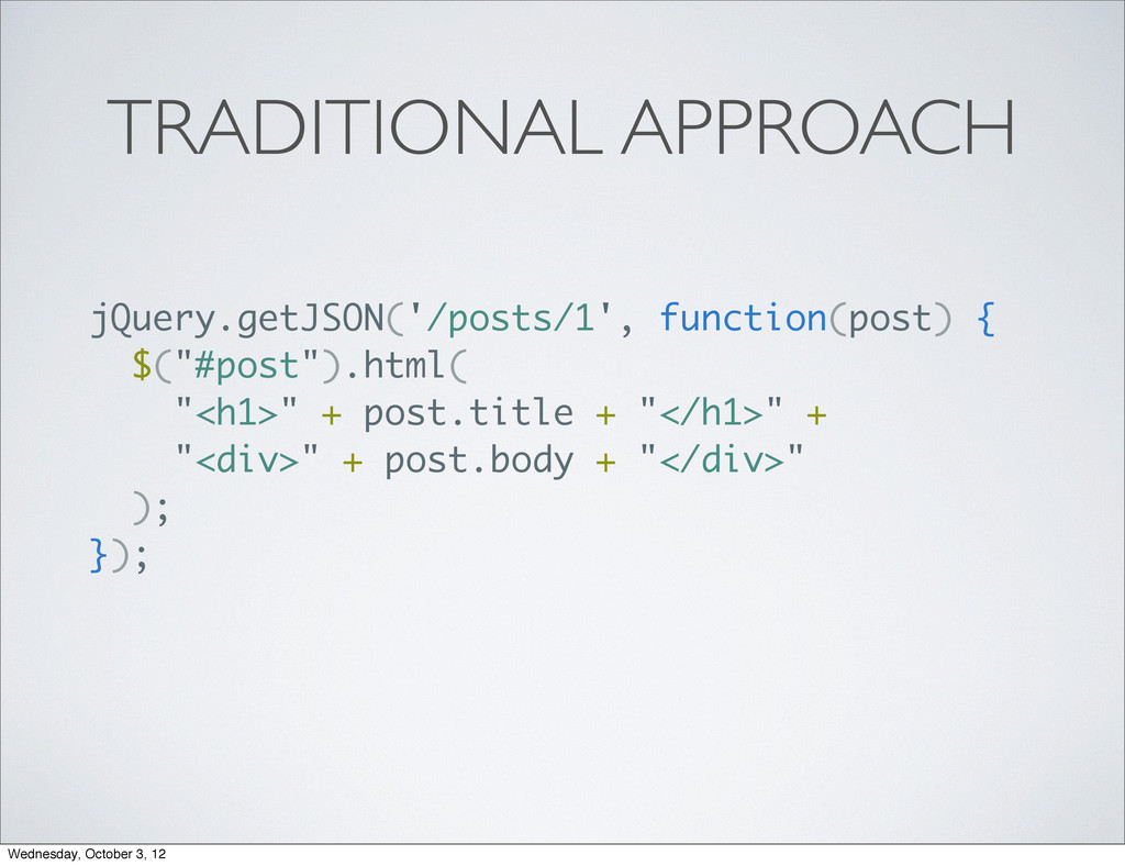 TRADITIONAL APPROACH jQuery.getJSON('/posts/1',...