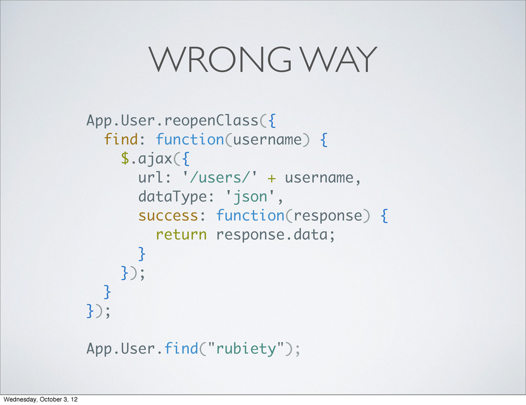WRONG WAY App.User.reopenClass({ find: function...