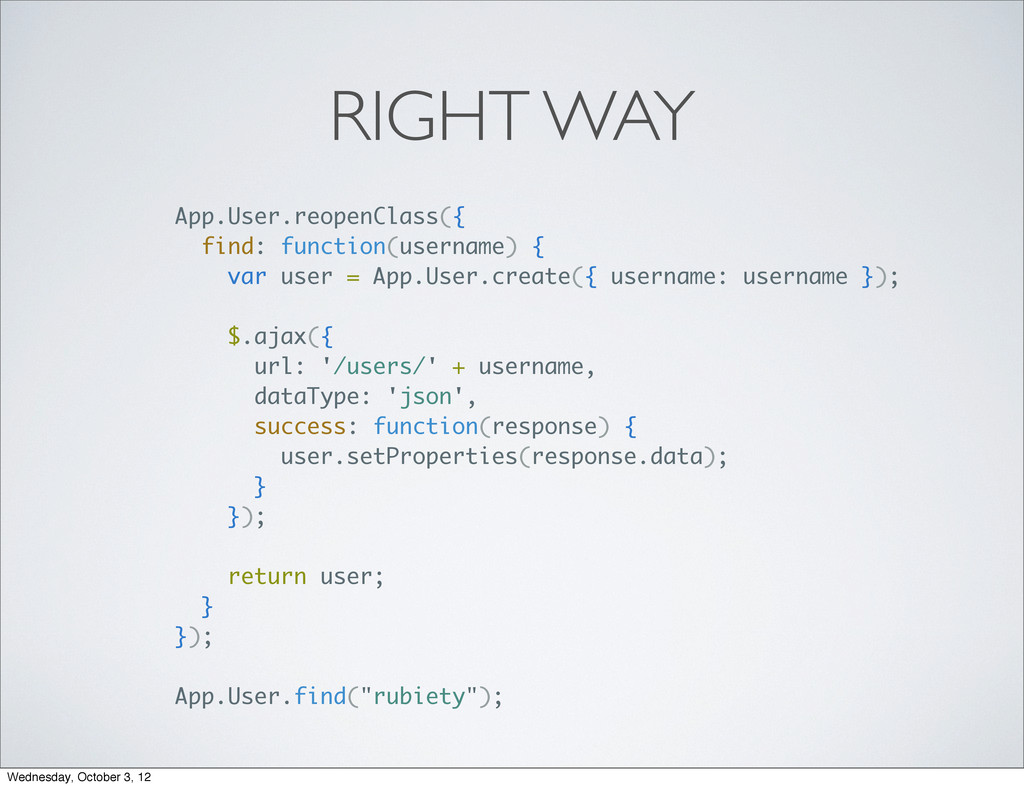 RIGHT WAY App.User.reopenClass({ find: function...