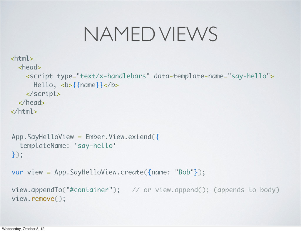 "NAMED VIEWS <html> <head> <script type=""text/x-..."
