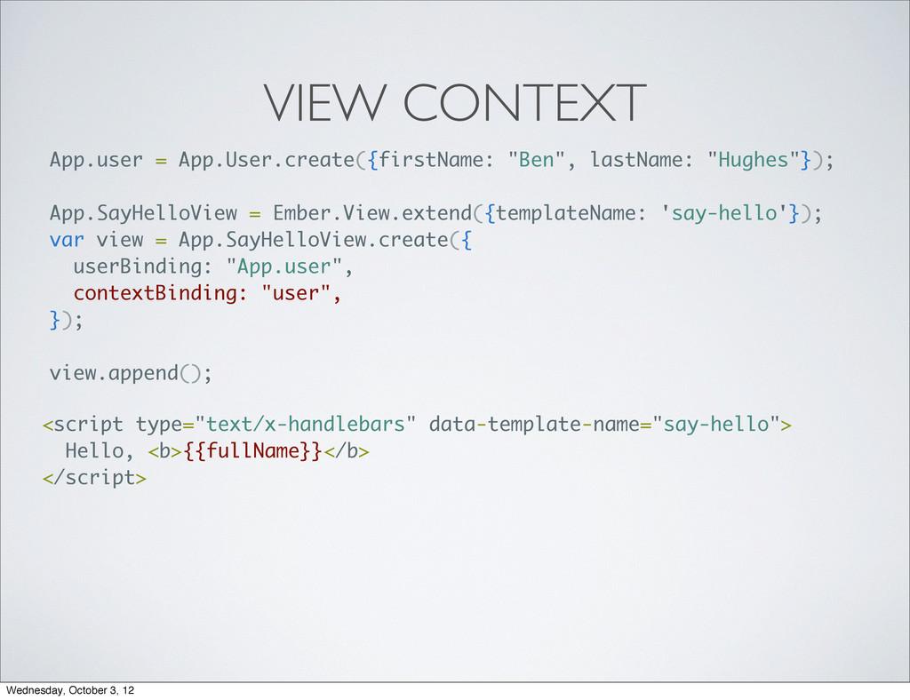 VIEW CONTEXT App.user = App.User.create({firstN...