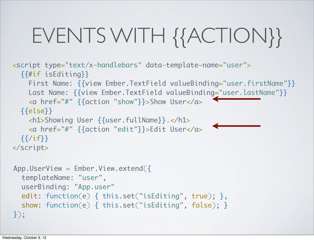 "EVENTS WITH {{ACTION}} <script type=""text/x-han..."