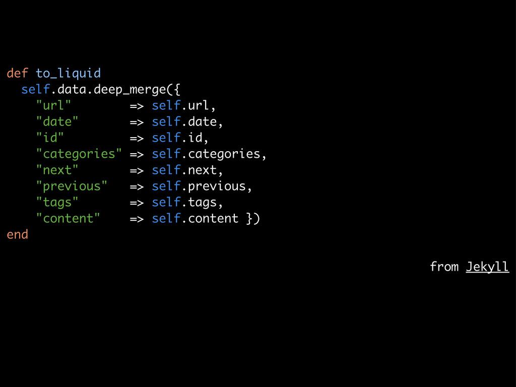 "def to_liquid self.data.deep_merge({ ""url"" => s..."