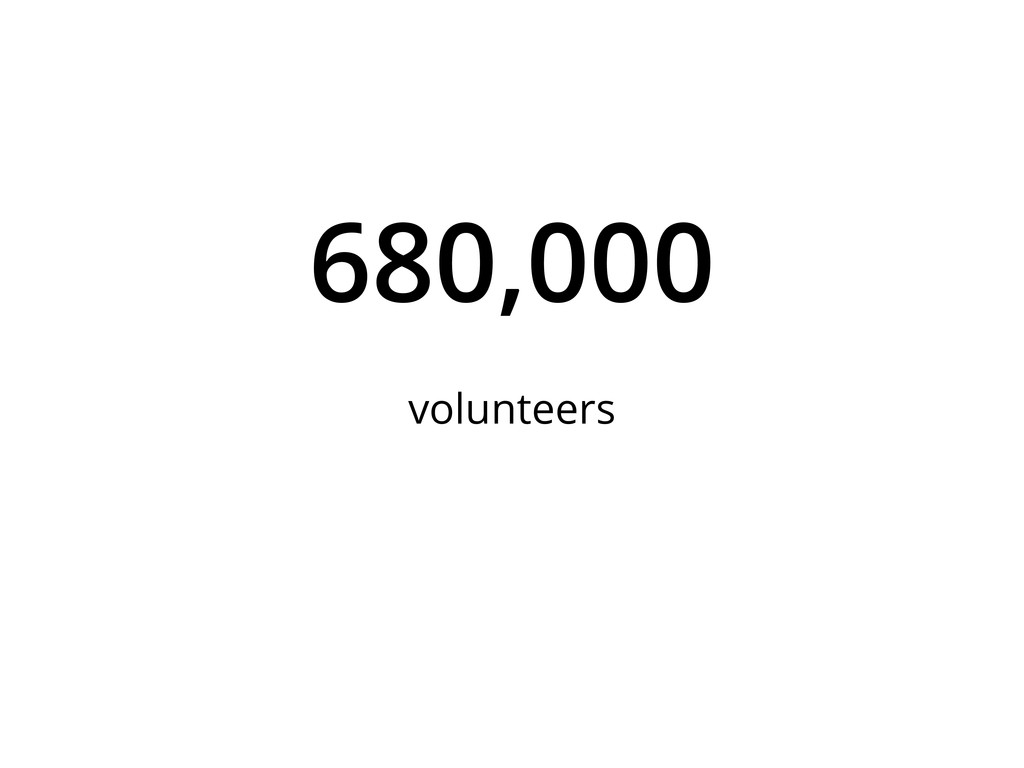 680,000 volunteers