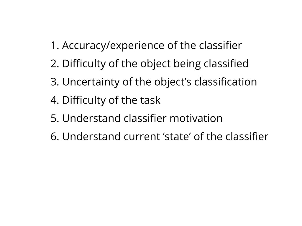 1. Accuracy/experience of the classifier 2. Diffic...