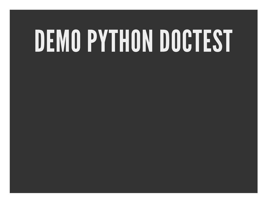 DEMO PYTHON DOCTEST