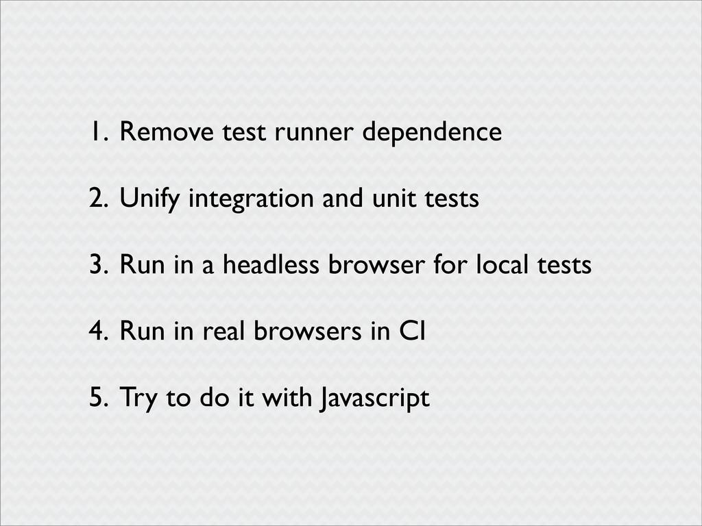 1. Remove test runner dependence 2. Unify integ...