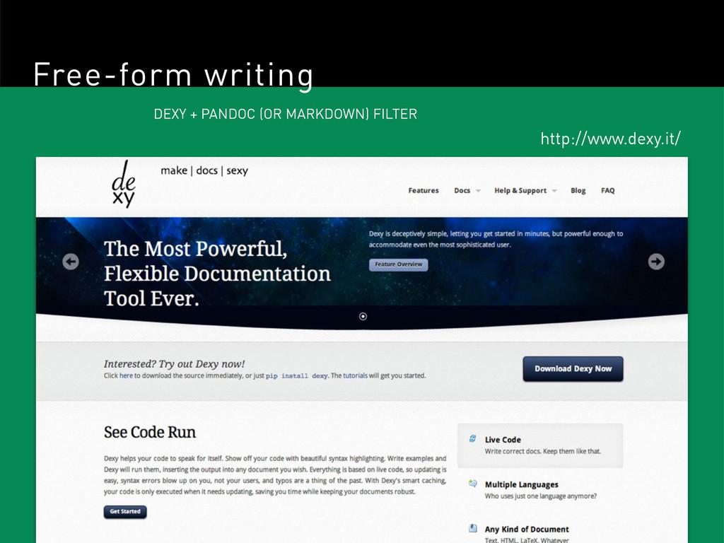 Free-form writing DEXY + PANDOC (OR MARKDOWN) F...