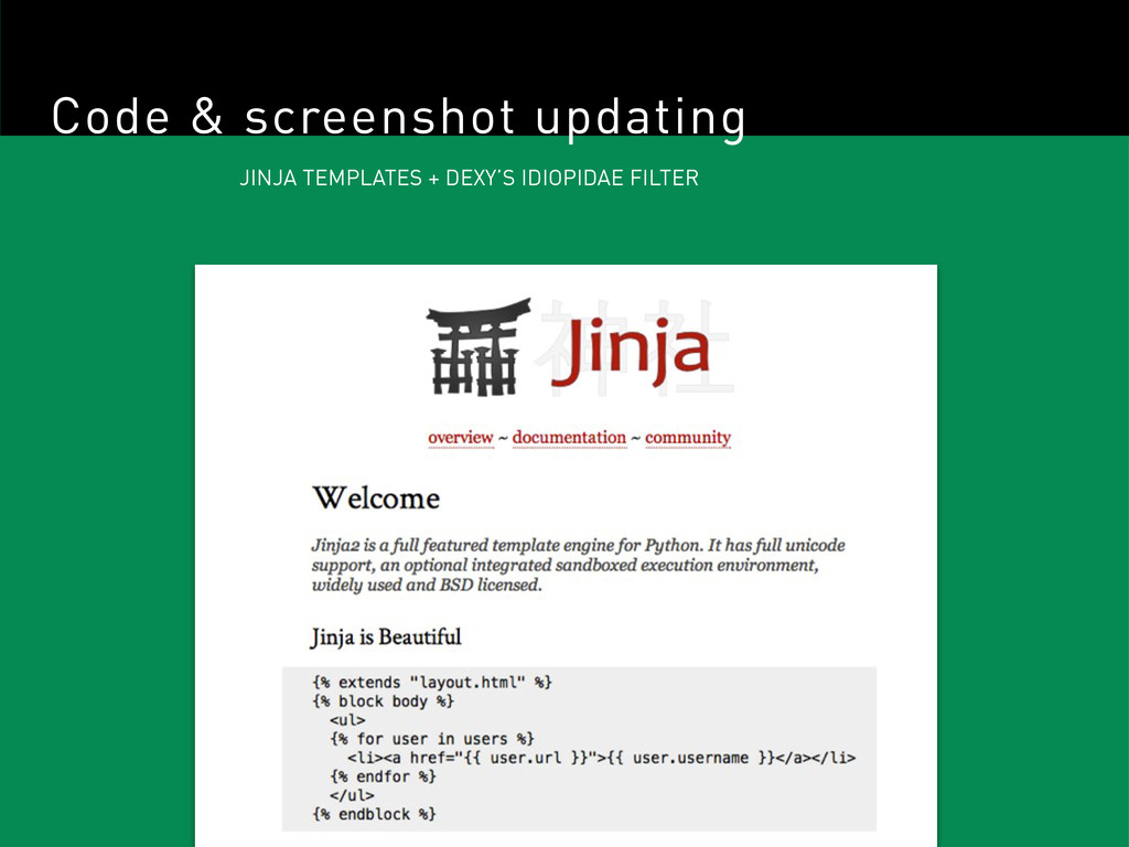 Code & screenshot updating JINJA TEMPLATES + DE...