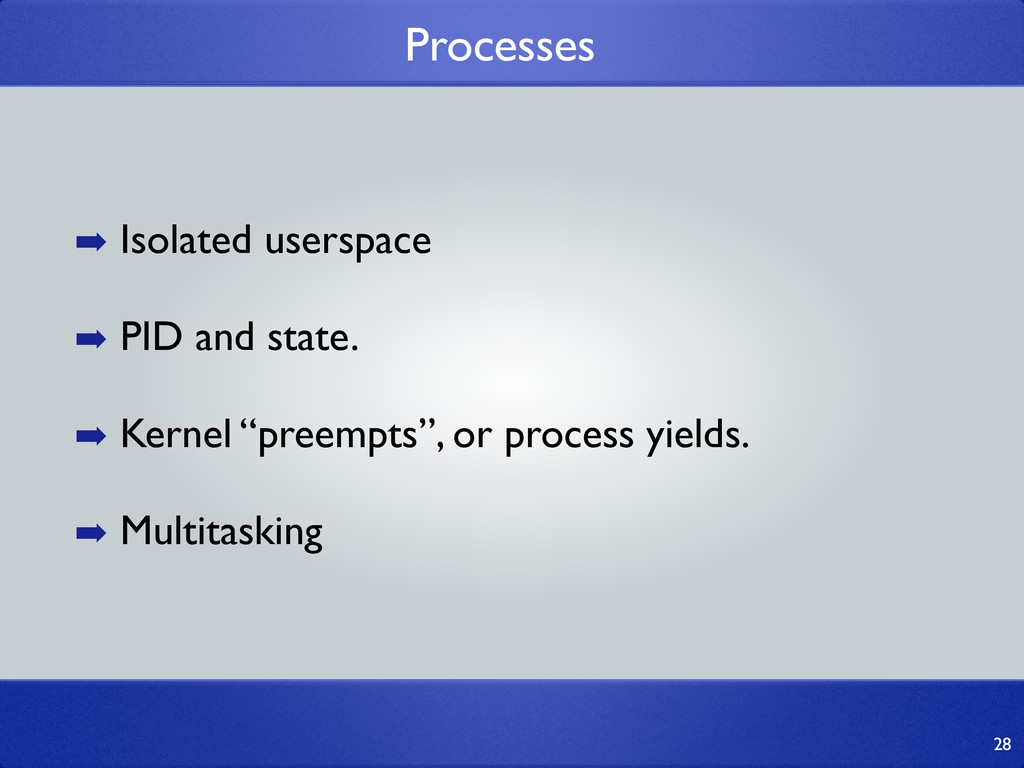 Processes 28 ➡ Isolated userspace ➡ PID and sta...