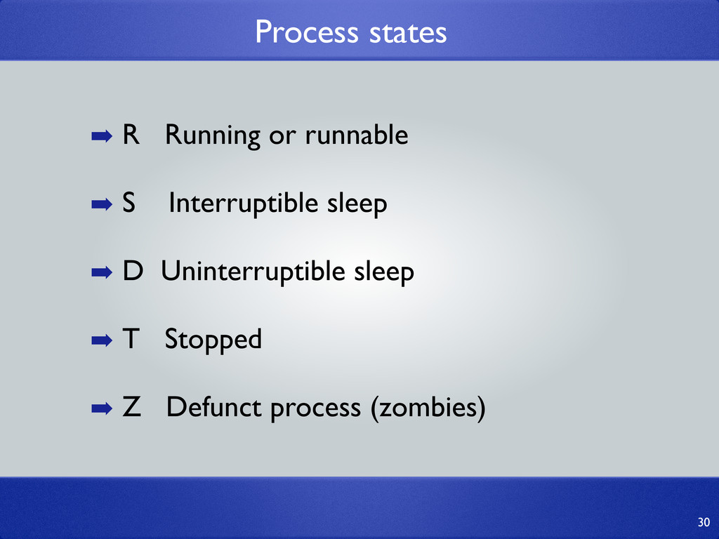 Process states 30 ➡ R Running or runnable ➡ S I...