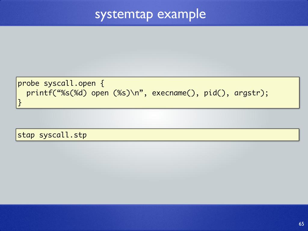 "probe syscall.open { printf(""%s(%d) open (%s)\n..."
