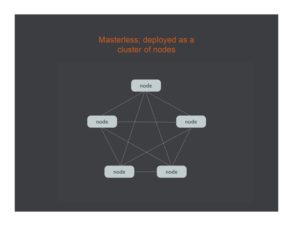 Masterless; deployed as a cluster of nodes