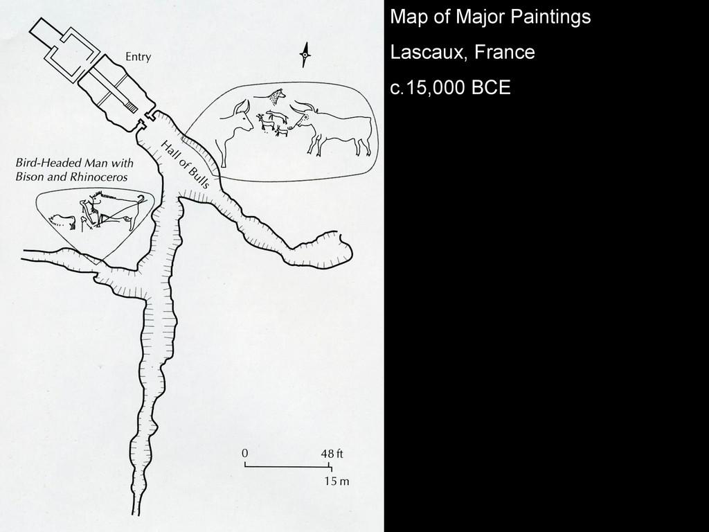 Map of Major Paintings Lascaux, France c.15,000...