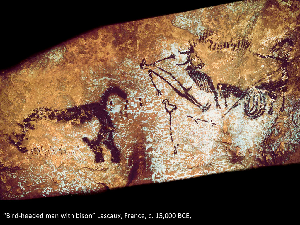 """""""Bird-‐headed man with bison"""" Lasc..."""