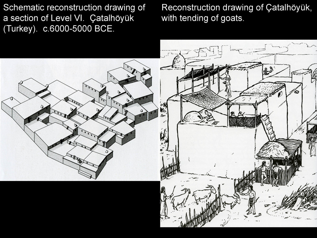 Reconstruction drawing of Çatalhöyük, with tend...