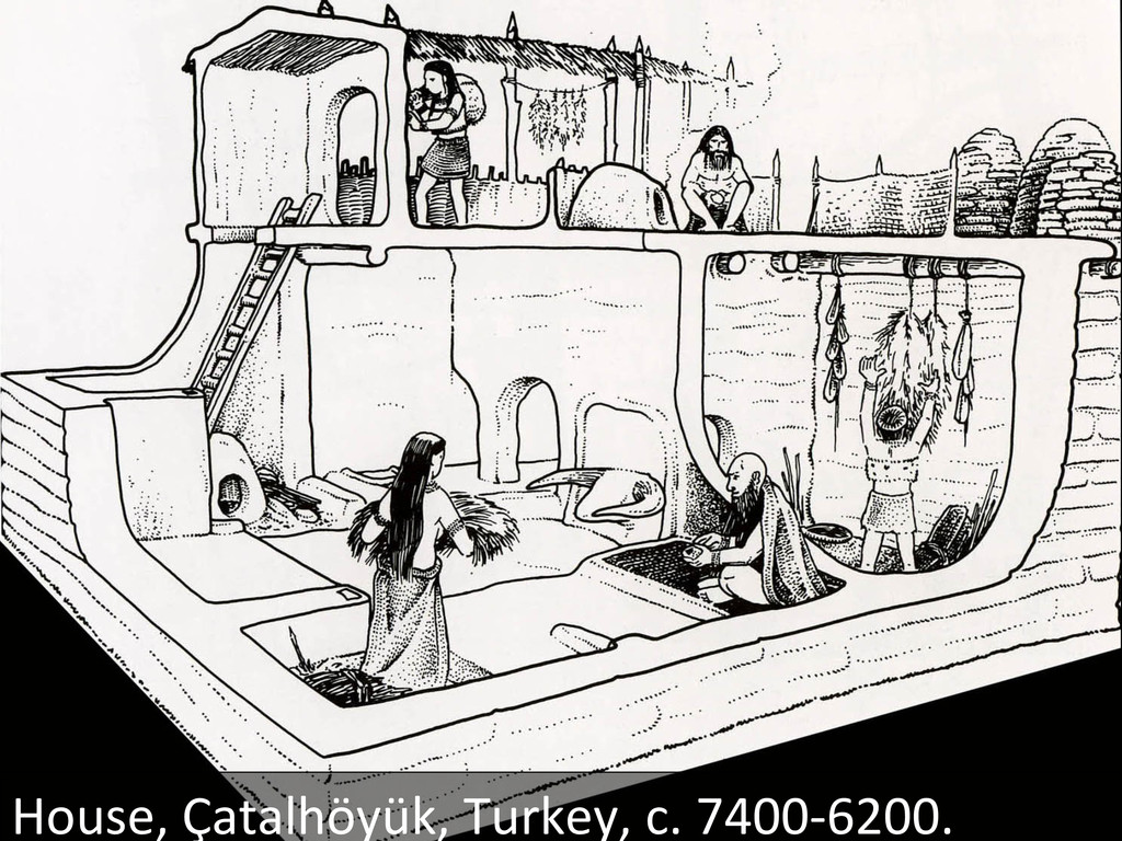 Reconstruction drawing of a house in Çatalhöyük...
