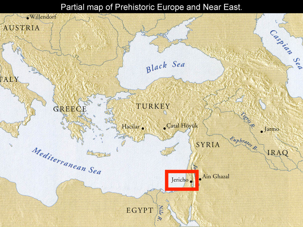 Partial map of Prehistoric Europe and Near East.