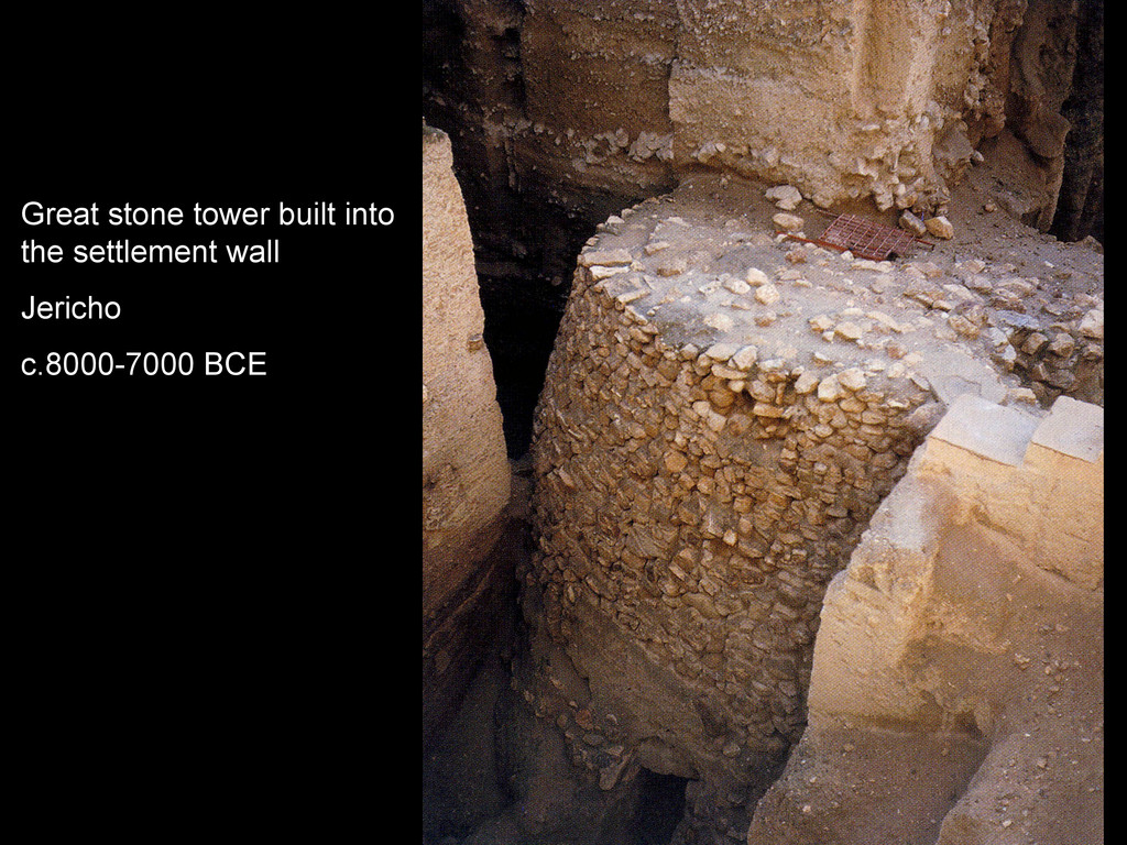 Great stone tower built into the settlement wal...