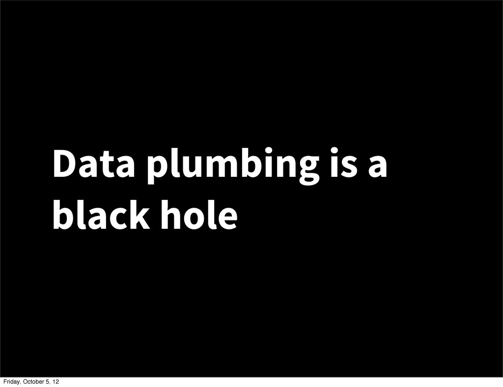 Data plumbing is a black hole Friday, October 5...
