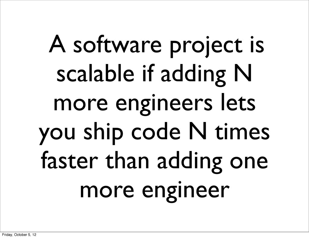 A software project is scalable if adding N more...