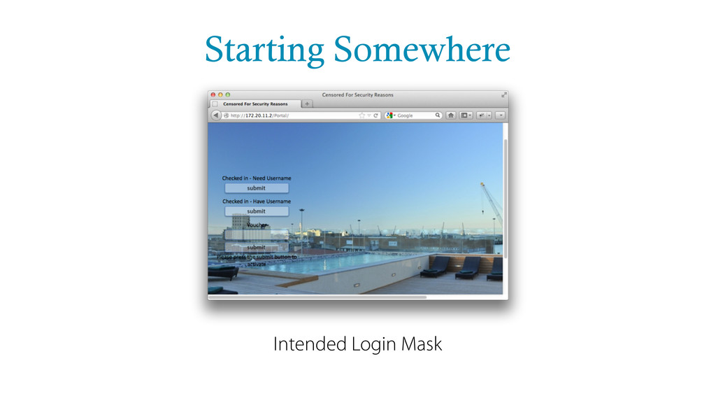 Starting Somewhere Intended Login Mask