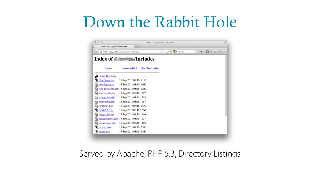 Down the Rabbit Hole Served by Apache, PHP 5.3,...