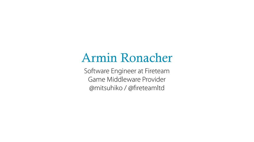 Armin Ronacher Software Engineer at Fireteam Ga...