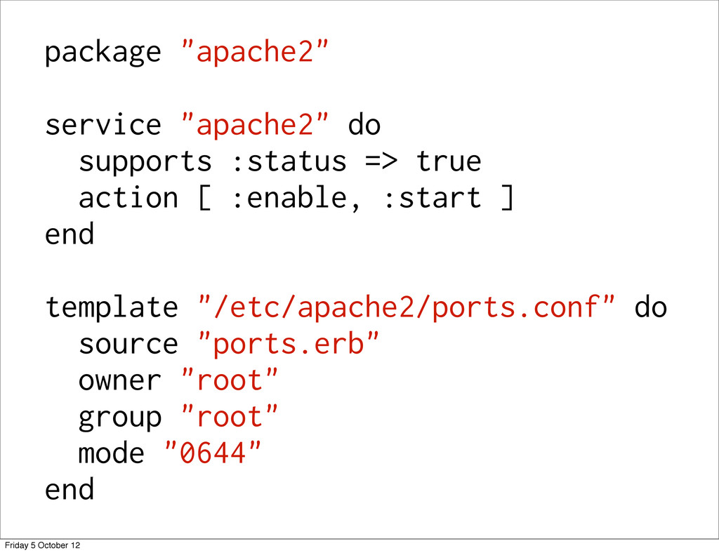 """package """"apache2"""" service """"apache2"""" do supports..."""