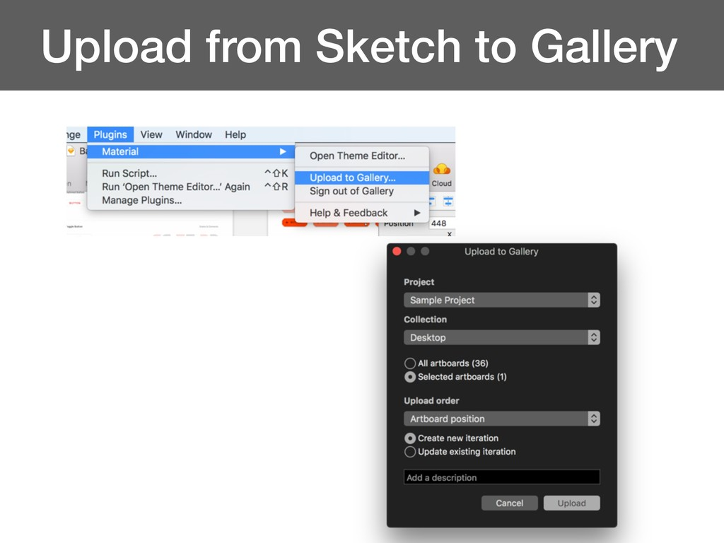 Upload from Sketch to Gallery