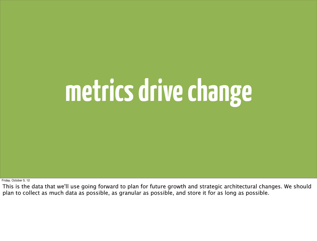 metrics drive change Friday, October 5, 12 This...