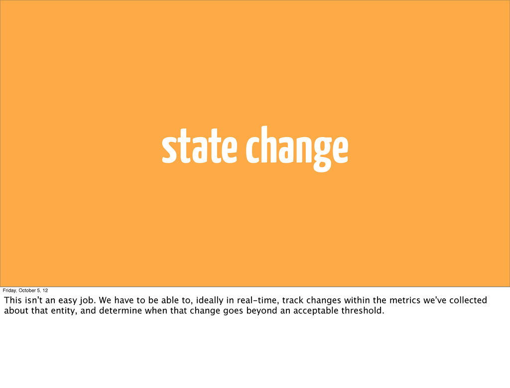 state change Friday, October 5, 12 This isn't a...