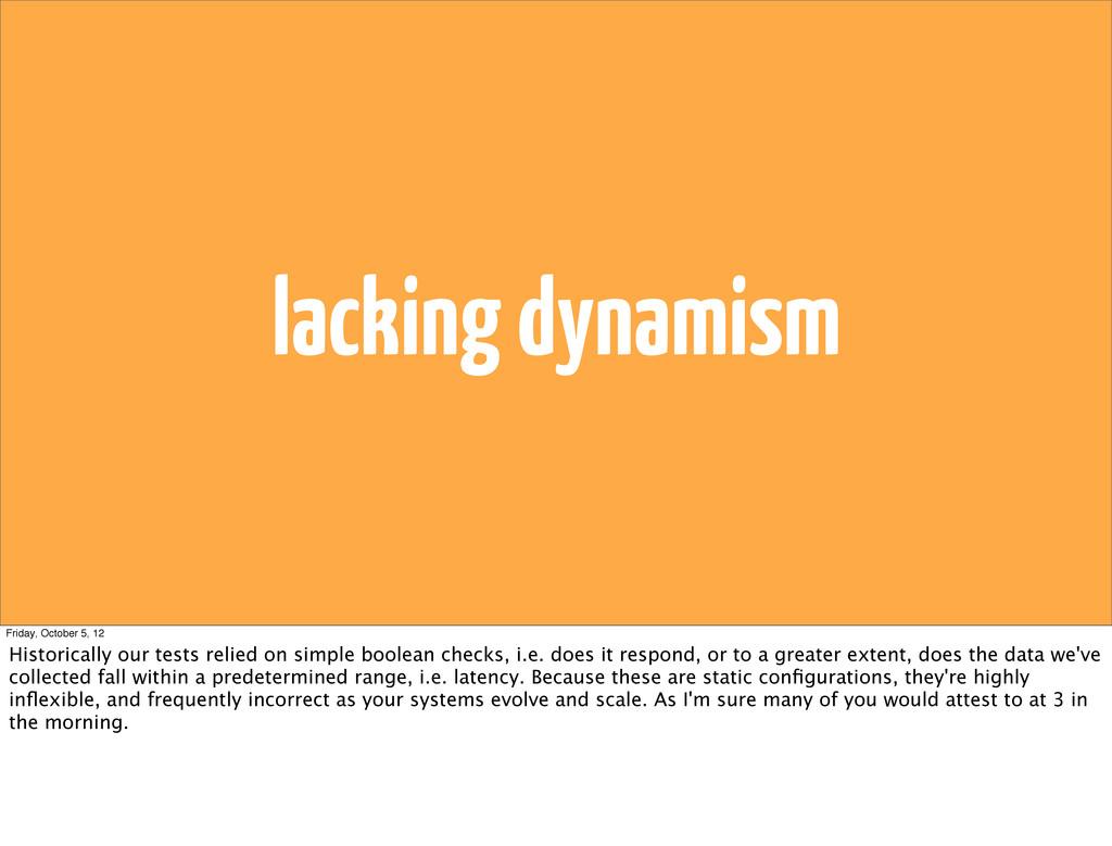 lacking dynamism Friday, October 5, 12 Historic...