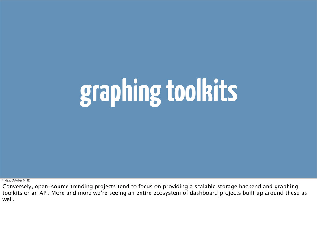 graphing toolkits Friday, October 5, 12 Convers...