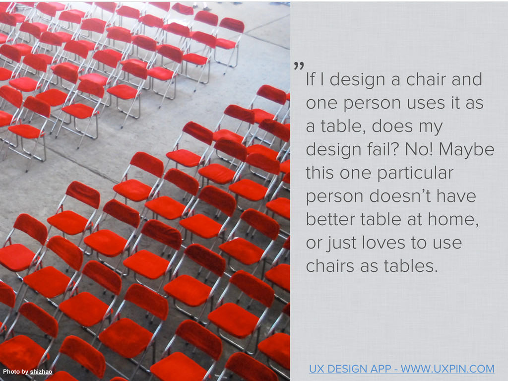 If I design a chair and one person uses it as a...