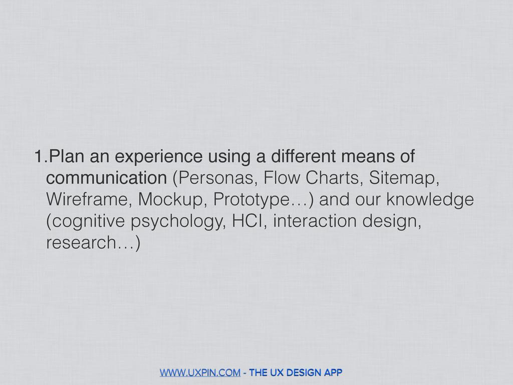 WWW.UXPIN.COM - THE UX DESIGN APP 1.Plan an exp...