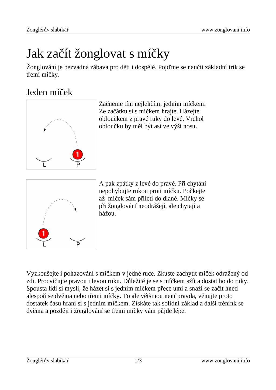Žonglérův slabikář www.zonglovani.info Jak začí...