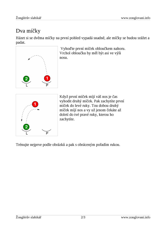 Žonglérův slabikář www.zonglovani.info Dva míčk...