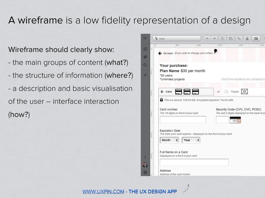 WWW.UXPIN.COM - THE UX DESIGN APP A wireframe i...