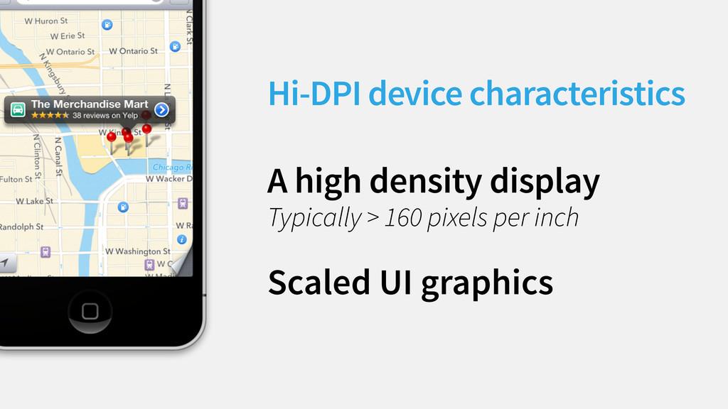 Hi-DPI device characteristics A high density di...
