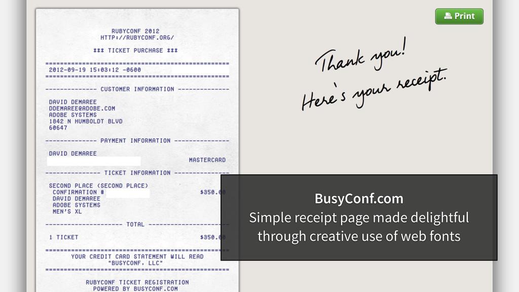 BusyConf.com Simple receipt page made delightfu...
