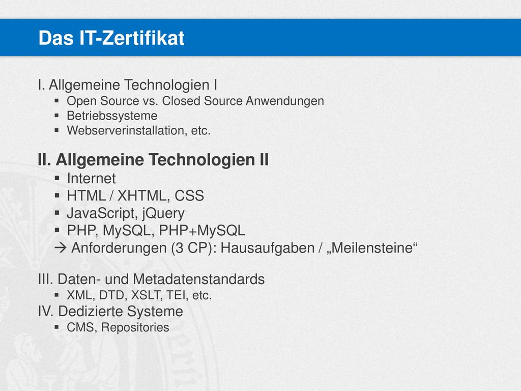 I. Allgemeine Technologien I  Open Source vs. ...