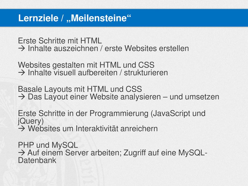 Erste Schritte mit HTML  Inhalte auszeichnen /...
