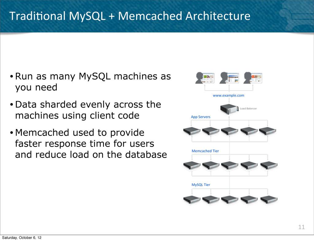 Tradi^onal MySQL + Memcached Archit...